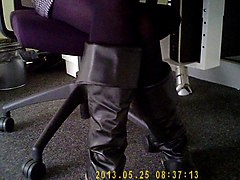 Office girl black boots hot legs