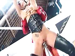 Latex blonde Dom teaches her booted brunette slave