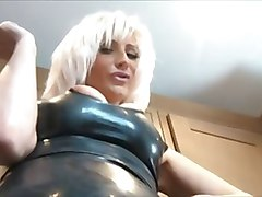hot bitchy brit cougar in leather teasing and smoking