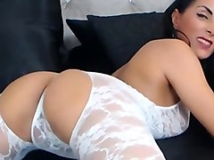 raven haired milf teases in sexy body suit