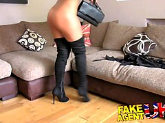fakeagentuk tight pussy essex chick returns for 2nd casting