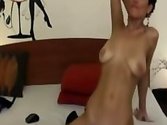 short haired brunette rides dildo on cam omegle