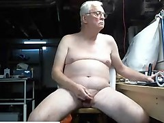 grandpa nudist wanking his uncut cock