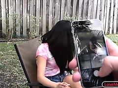 naughty stepsis punished by her stepbro for smoking outside