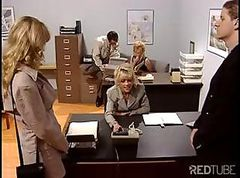 Blonde office babe gets busty sucking and fucking his cock