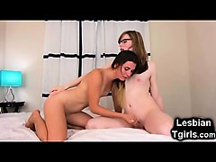 cute tgirl blows her teen trap gf!