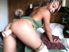 sexy short-haired pixie girl dildos her ass
