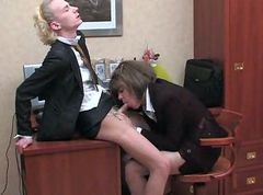 Crossdressers office twosome