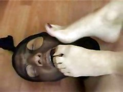 Man Slave Licks Feet