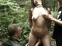 Two Master Ties Horny Slave To A Tree And Fucks Her With A Dildo And Pulls On Her Nipples While Her Friend Is Watching